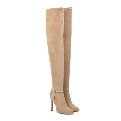 Thin High Heel Pointed Toe Shoes Sexy Flock Slip On Women's Stretch Boots - SolaceConnect.com