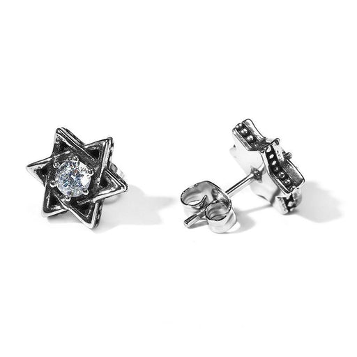 Stainless Steel Vintage David Shield Star Solomon Seal Unisex Earrings - SolaceConnect.com