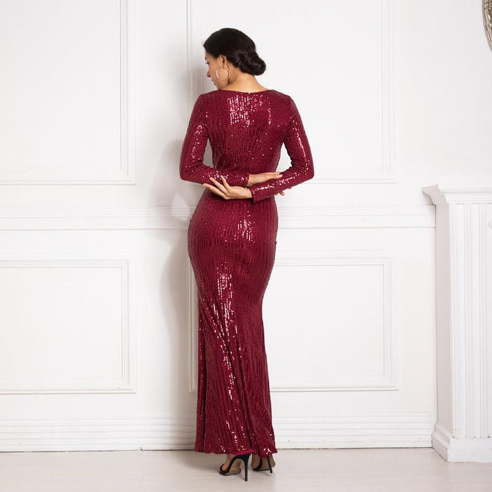 Sexy Women's Silver Sequined V Neck Full Stretchy Evening Party Maxi Dress - SolaceConnect.com