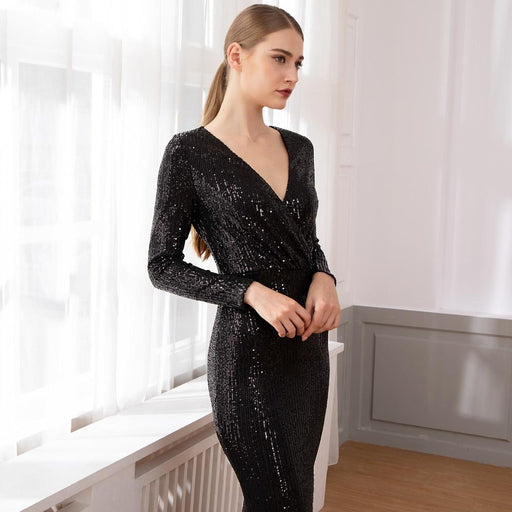 Silver Sequined Maxi Dress Black Burgundy Green V Neck Evening Party Wrap Dress Stretchy Full - SolaceConnect.com