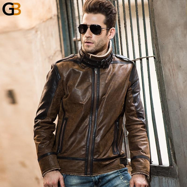 Vintage Casual Genuine Pigskin Double Face Fur Leather Jacket for Men - SolaceConnect.com