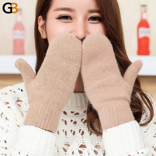 Fashion Girl's Soft Rabbit Fur Double Layer Winter Warm Gloves Mittens - SolaceConnect.com