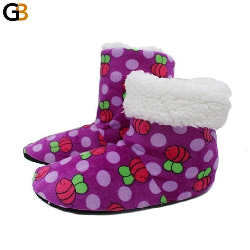 Plush Warm Home Slippers Animal Prints Winter Comfortable Indoor Soft Fur Slippers Animal Print - SolaceConnect.com