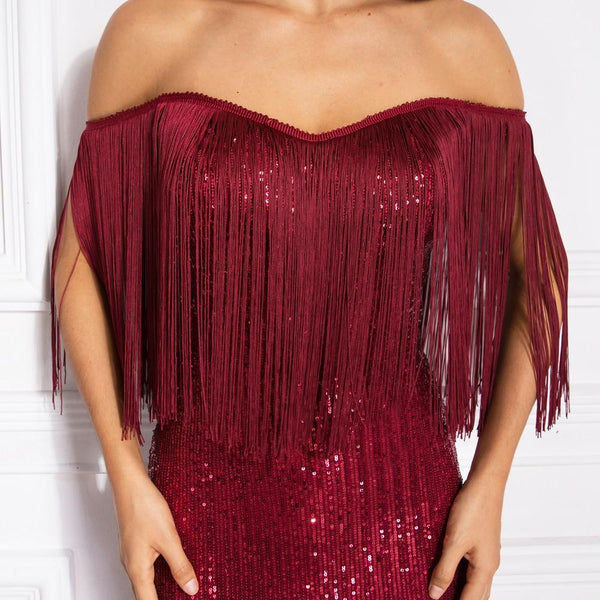 Autumn Off Shoulder Slash Neck Tassel Patchwork Sequined Party Maxi Dress - SolaceConnect.com