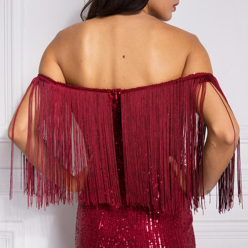 Burgundy Tassel Slash Neck Patchwork Sequind Maxi Dress Off The Shoulder Autumn Night Party Dress - SolaceConnect.com