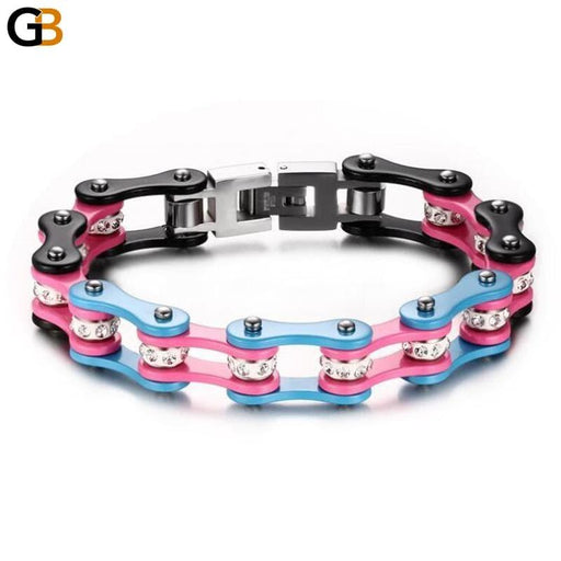 10mm*20cm Shiny Rhinestones Stainless Steel Loveliness Men Women's Fashion Bicycle Pink Blue Black - SolaceConnect.com