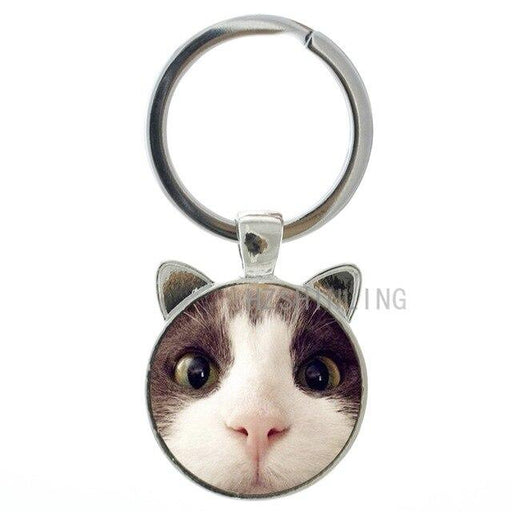 Fashion Lovely Cat Animal Metal Gems Glass Round Key Chain Ring Holder - SolaceConnect.com