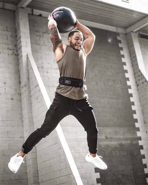Joggers Sweatpants Mens Casual Pants Gyms Fitness Workout Sportswear Multi-pocket Sporty Trousers - SolaceConnect.com