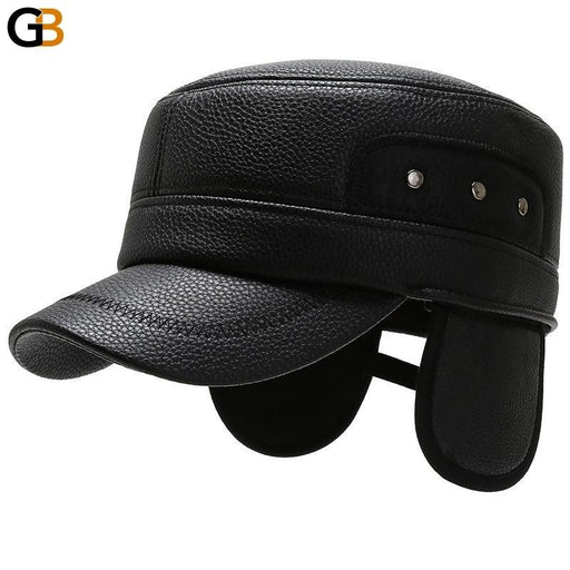 Men's Warm Winter Thick Synthetic Leather Military Flat Top Snapback Hat - SolaceConnect.com