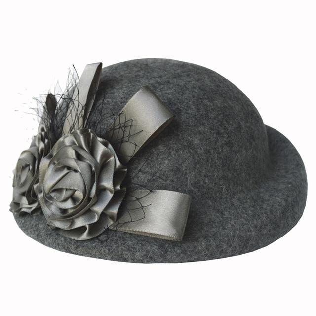 Lady Fedoras Wool Hat Girls Flowers Dome Woolen Cap Female Basin Cap Fisherman Cute Casual Woolen - SolaceConnect.com