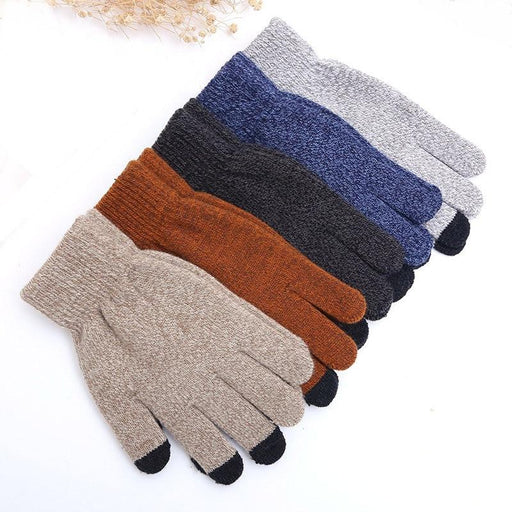Men's Winter Warm Wool Knit Stretch Full Finger Touch Screen Gloves Mitten - SolaceConnect.com