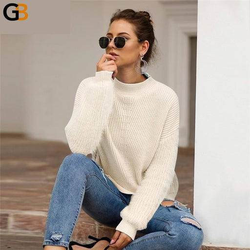 Women's Casual Plush Pullover Loose Knitted Turtleneck Sweaters - SolaceConnect.com