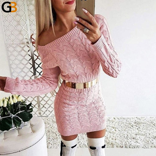 Off Shoulder Long Sleeve Knitted Sweater Dress Women Casual Pink Gray Autumn Winter Warm Elegant - SolaceConnect.com