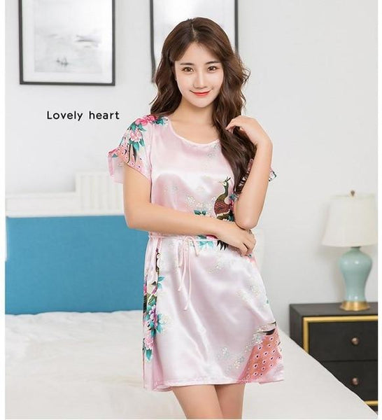 Sexy Women's Summer Casual Peacock Print Satin Sleepshirt Nightgown - SolaceConnect.com