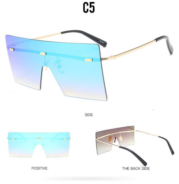 Women's Rimless Oversized Big Frame Sun Shield Vintage Designer Sunglasses - SolaceConnect.com