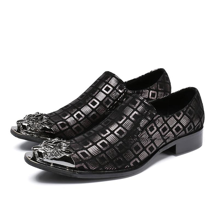 Metal Pointed Toe Plaid Genuine Leather Wedding Dress Shoes for Men - SolaceConnect.com