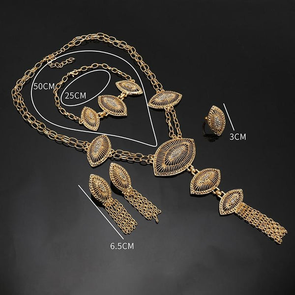 Fashion Dubai Gold Color Jewelry Set Nigerian Wedding African Beads Earrings Necklace Set Rose Whtie - SolaceConnect.com