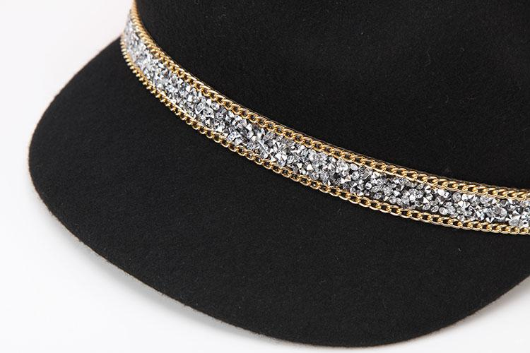 Lady Visors Hat Autumn Winter Diamond Chain Decorated Wool Octagonal Cap Female British Fashion - SolaceConnect.com