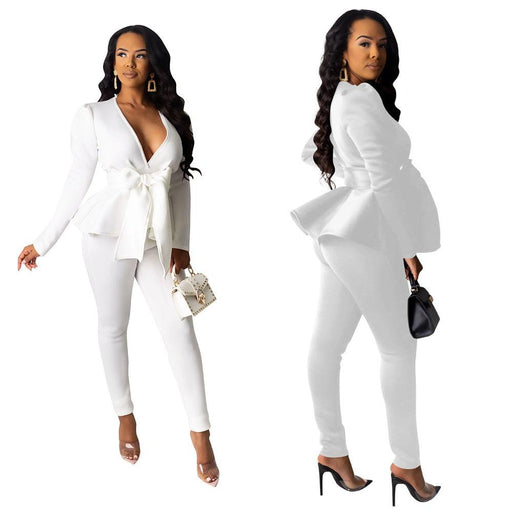 Casual Women's Solid V-Neck Long Sleeve Ruffle Top Two Piece Blazer Set - SolaceConnect.com