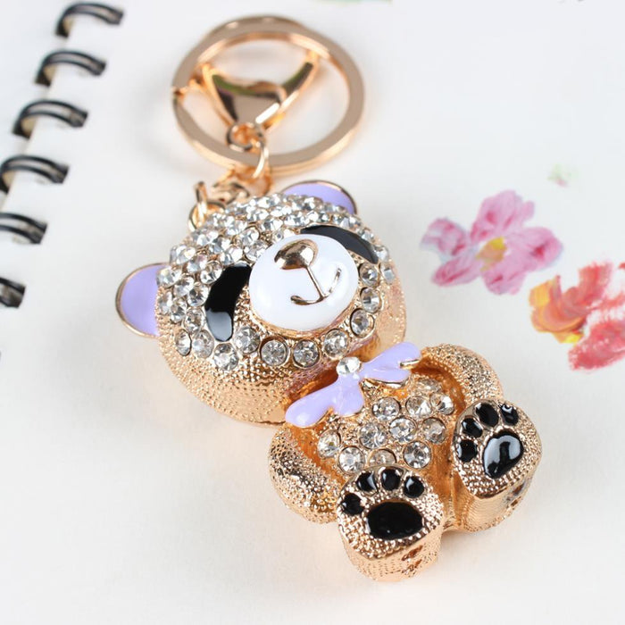 Bear Bowknot Crystal Rhinestone Charm Pendant Purse Bag Key Ring Chain - SolaceConnect.com