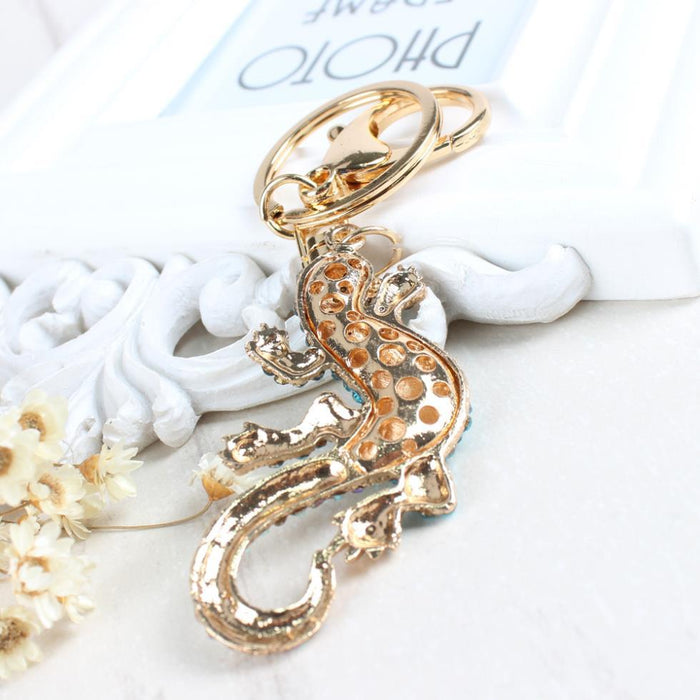 Gecko Wall Climbing Pendant Charm Rhinestone Crystal Purse Key Chain Ring - SolaceConnect.com