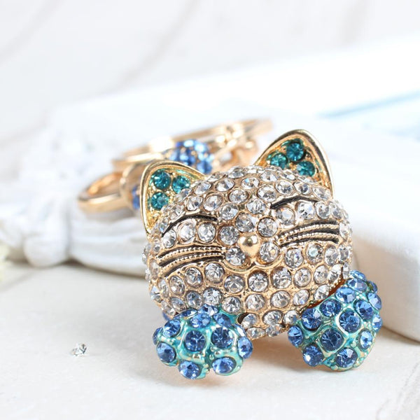 Cute Long Tail Sit Cat Crystal Charm Purse Pendant & Gift Key Chain - SolaceConnect.com