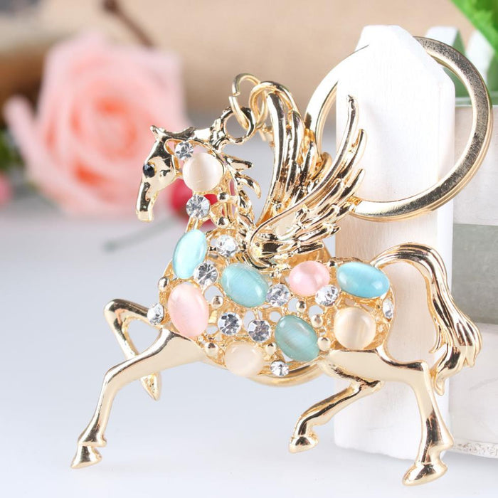 Crystal Rhinestone Key Chain Ring Charm with Flying Horse for Purse or Bag - SolaceConnect.com