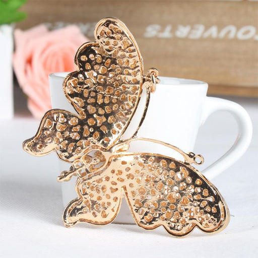 Big Butterfly Lovely Multi-color Crystal Rhinestone Charm Pendant Purse Bag Car Key Ring Chain