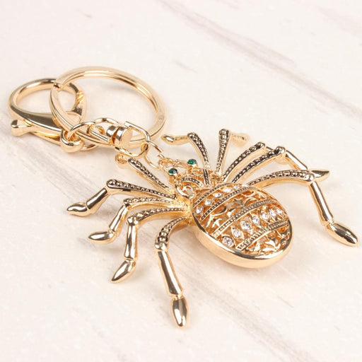 Lovely Spider Web Insect Cute Metal Charm Pendant Crystal Car Purse HandBag Key Chain Ring - SolaceConnect.com