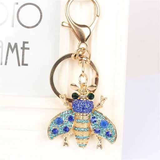 Bee Honeybee Insect Keychain Rhinestone Crystal Pendant Charm for Handbag Purse Bag Carkey Gift - SolaceConnect.com