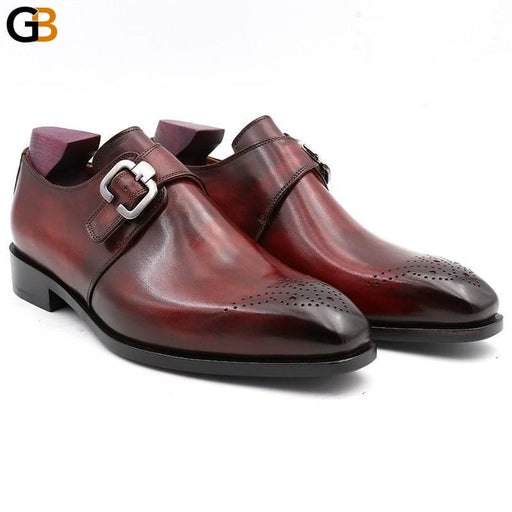 Square Plain Toe Full Grain Calf Leather Custom Blake Stitch Men's Handmade Dress Monk Straps Office - SolaceConnect.com