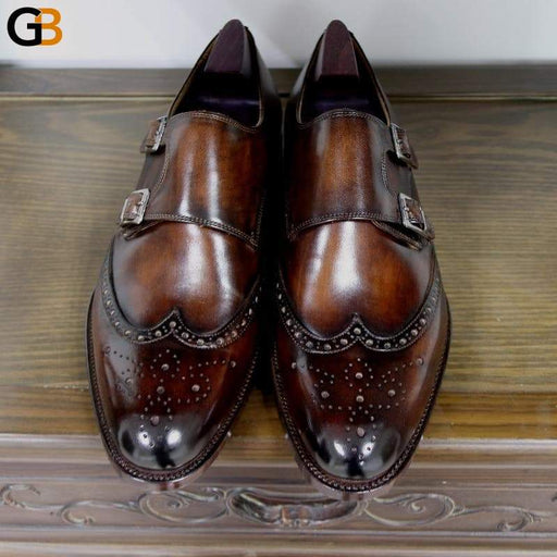 Round Toe Brogues Full Grain Genuine Calf Leather Formal Shoes Custom Men's Dress Monk Straps Office - SolaceConnect.com