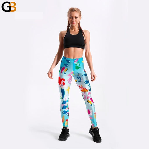 Women Leggings Underwater Animal World Cartoon Fishes Mermaid Printed Lovely Long Pants - SolaceConnect.com