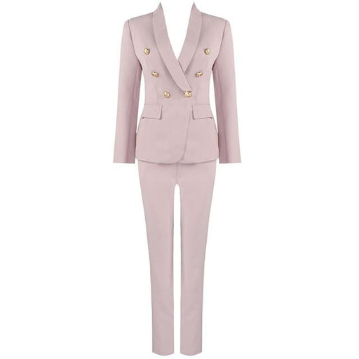 Pink Red Pants Suit Women Business Classic Gold Double Breasted Button Blazer Pants Two Piece Sets - SolaceConnect.com