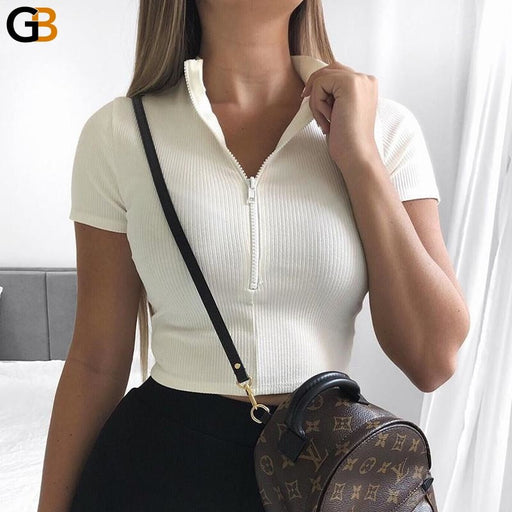 Women's Sexy Casual Cotton Zipper V Neck Crop Top Short Sleeve T-Shirt - SolaceConnect.com