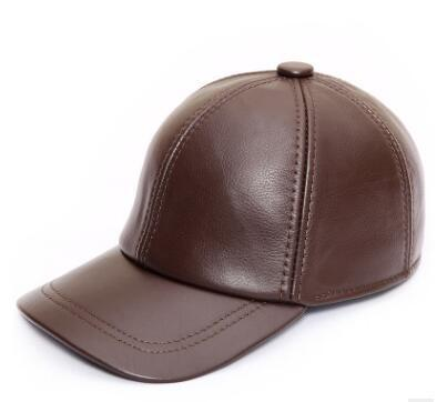 Men's Casual Genuine Cow Leather Leisure Adjustable Baseball Caps - SolaceConnect.com