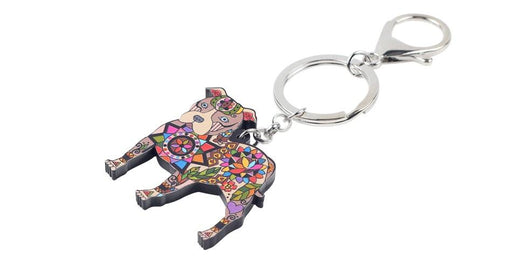 Acrylic Boston Terrier Pit Bull Dog Key Chain Pom Gift for Women - SolaceConnect.com