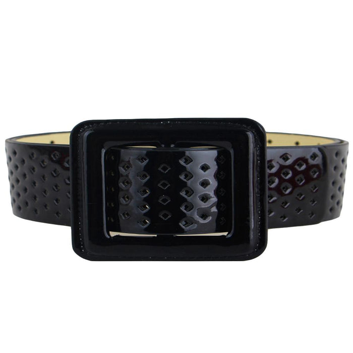 Ladies Black White Red One Size Synthetic Leather Strap Waistband Belts - SolaceConnect.com