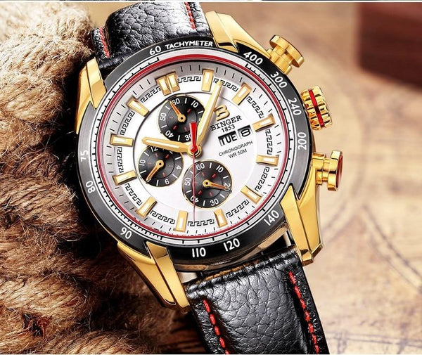 Military Chronograph Waterproof Men's Watch with 44mm Wristband - SolaceConnect.com