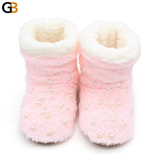 String Bead Plush Slippers Indoor Home Slippers Winter Women Slippers Soft Bottom Home Shoes Large - SolaceConnect.com