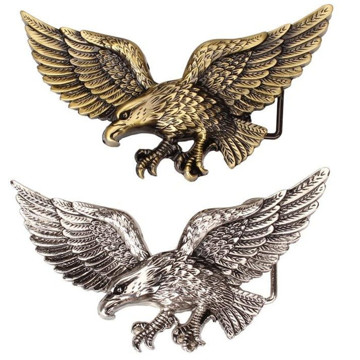 Casual Men's Women's belt Golden Flying eagle belts hawk metal buckle punk rock style trend women - SolaceConnect.com