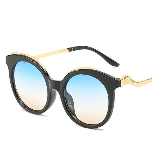 Vintage Blue Pink Gradient Cat Eye Fashion Round Sunglasses for Women - SolaceConnect.com