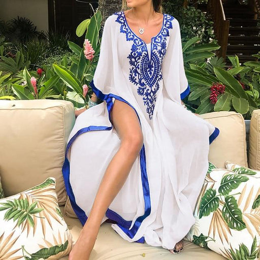 Large Chiffon Beach Cover up Plus size Bikini Cover up Saida de Praia Vestidos Mujer 2019 Maxi Dress - SolaceConnect.com
