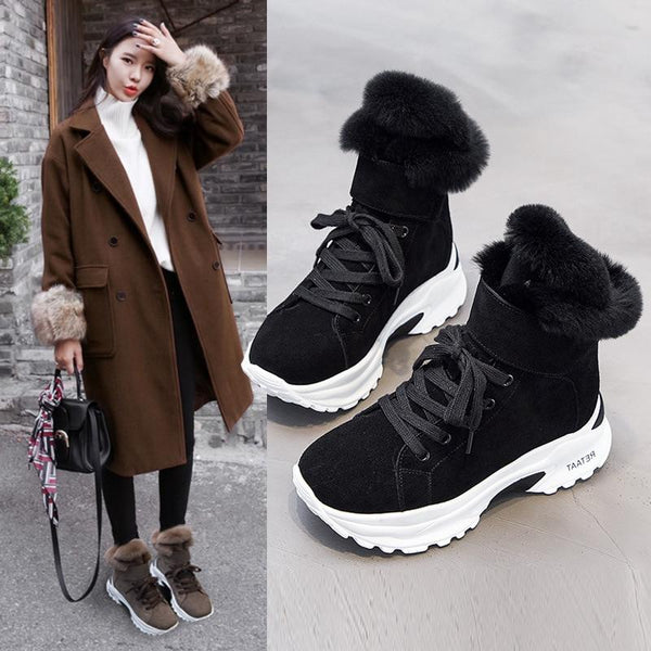 Women's Fashion Furry Genuine Leather Winter Snow Boots High Heel Wedge - SolaceConnect.com