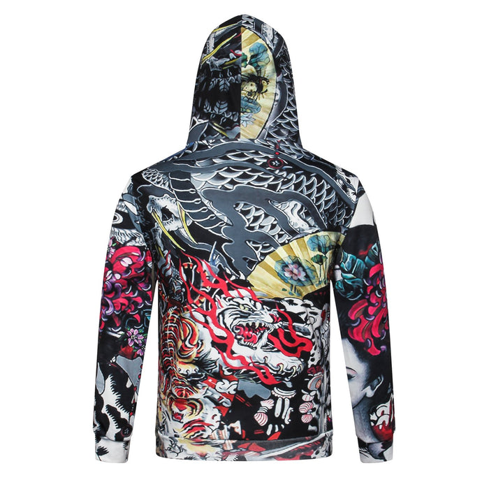 Autumn Winter Hooded 3D Tattoos Print Sweatshirts for Men and Women - SolaceConnect.com