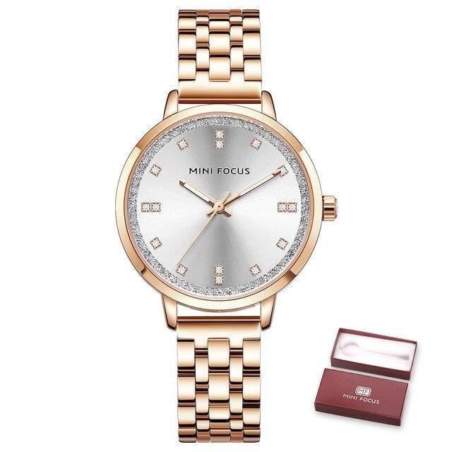 Women's Diamond Quartz Luxury Crystals Stainless Steel Dress Watches - SolaceConnect.com