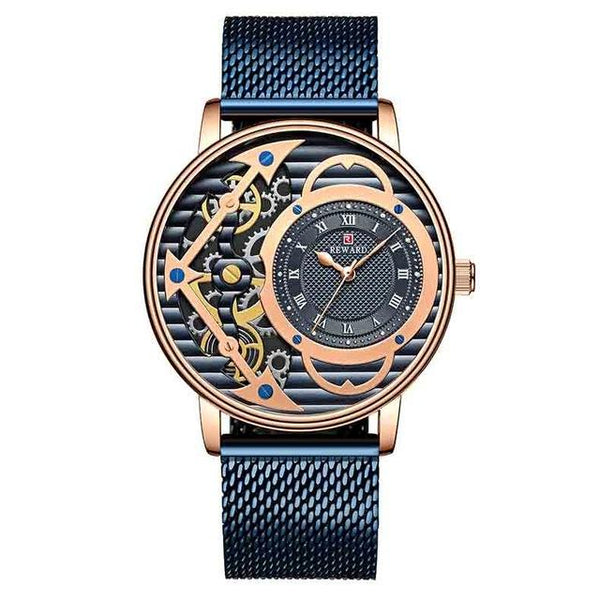 REWARD Skeleton Quartz Watch Men Gold Top Brand Luxury Mens Watches Male Clock Waterproof Calendar - SolaceConnect.com