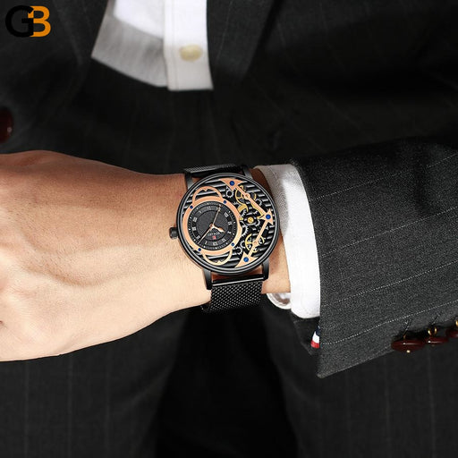 Luxury Waterproof Skeleton Gold Quartz Calendar Watches for Men - SolaceConnect.com