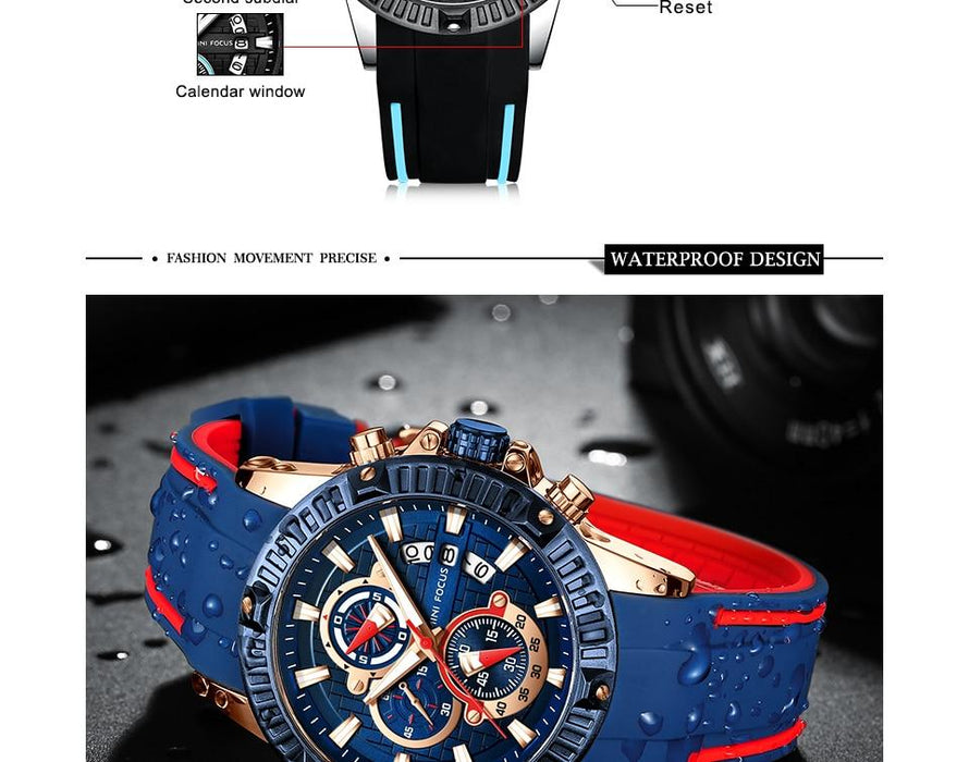 Men's Chronograph Fashion Silicone Quartz Sports Calendar Wristwatches - SolaceConnect.com
