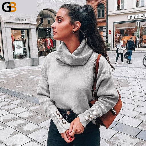 Casual Pullover Turtleneck Long Sleeve Button Sweaters for Women - SolaceConnect.com